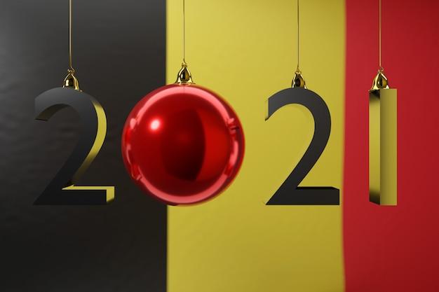 Ilustracja szczęśliwego nowego roku z białą flagą narodową belgii