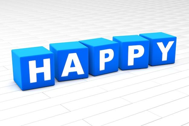 Ilustracja szczęśliwy słowo