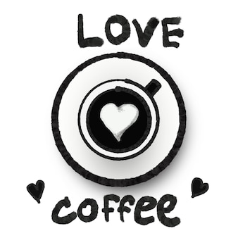 Ilustracja sztuka miłość obraz kawy i projekt logo dekoracyjny znak i koncepcja symbolu, wzór na koncepcji tkaniny