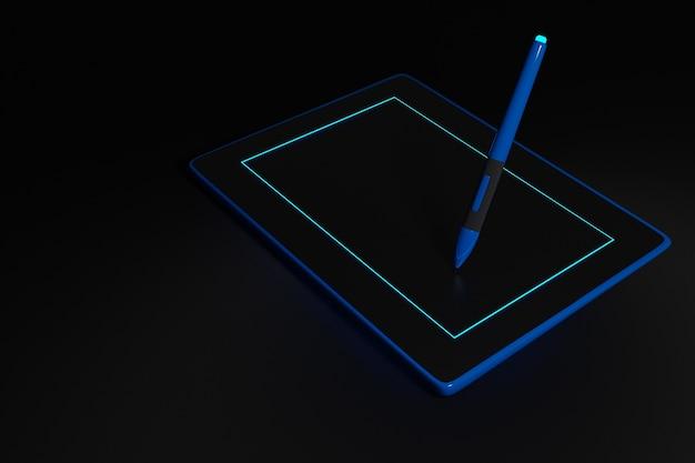Ilustracja tablet pióra. elektroniczne urządzenie do projektowania biura. realistyczny styl czarnego tabletu makieta z rysikiem.