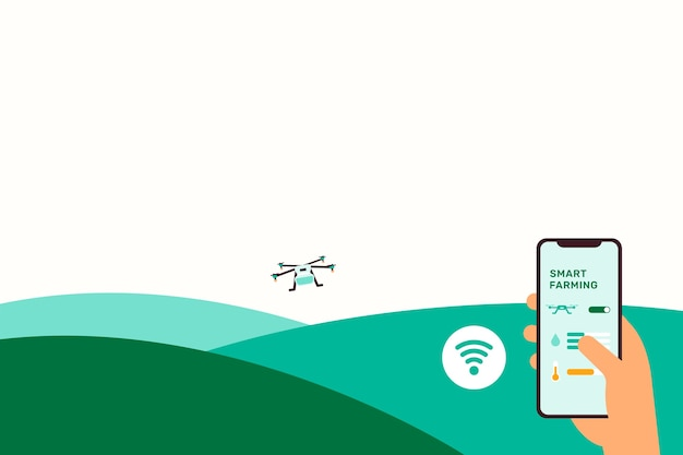 Ilustracja tła technologii inteligentnego rolnictwa dronów rolniczych