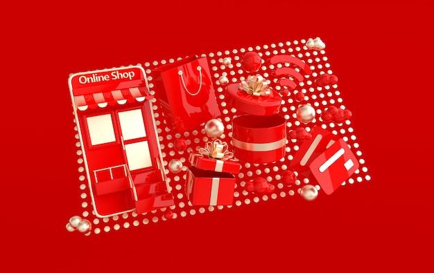 Ilustracja torby na zakupy obecne pudełko karta kredytowa chmury wifi symbol smartphone
