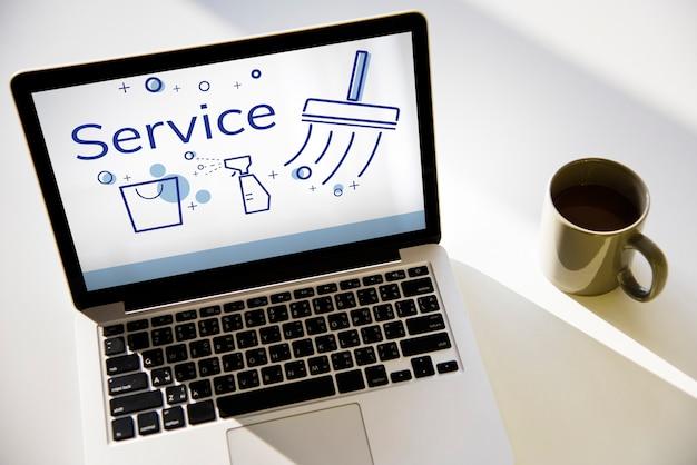Ilustracja usługi sprzątania domu na laptopie