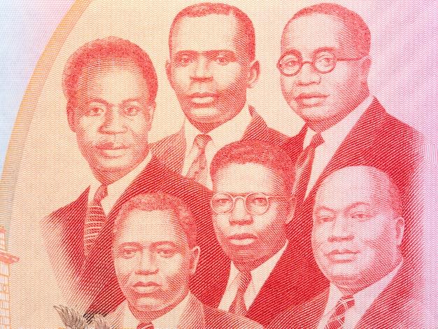Ilustracja wielkiej szóstki z pieniędzy ghany