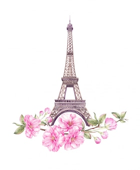 Ilustracja wiosna paryż.