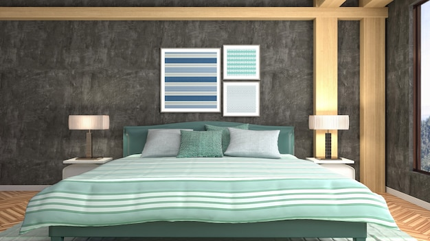 Ilustracja wnętrza sypialni