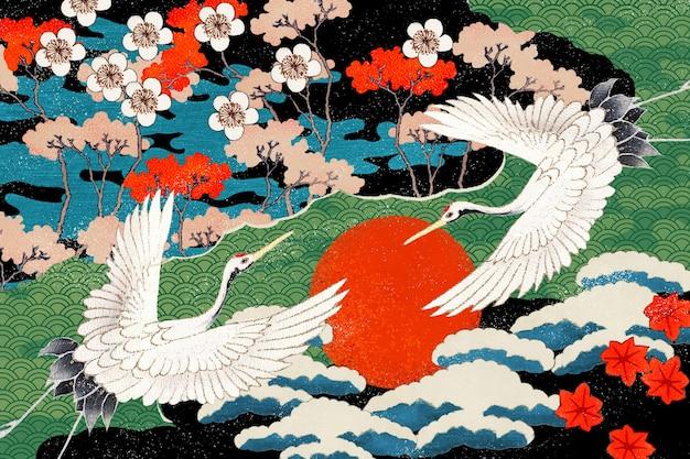 Ilustracja Wzoru W Stylu Vintage Japońskiej Sztuki Darmowe Zdjęcia