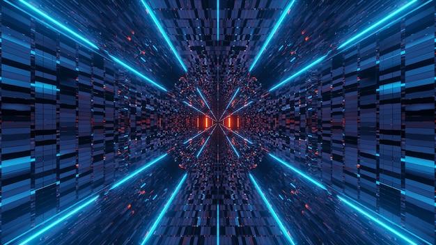 Ilustracja z abstrakcyjnymi efektami świetlnymi pomarańczowego i niebieskiego