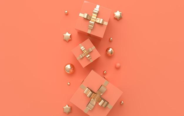 Ilustracja z pastelowymi kolorowymi i złotymi kulkami pudełko upominkowe