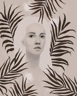 Ilustracja z piękną dziewczyną kwiatami i tropikalnymi liśćmi handdrawn vintage ilustracja 3d