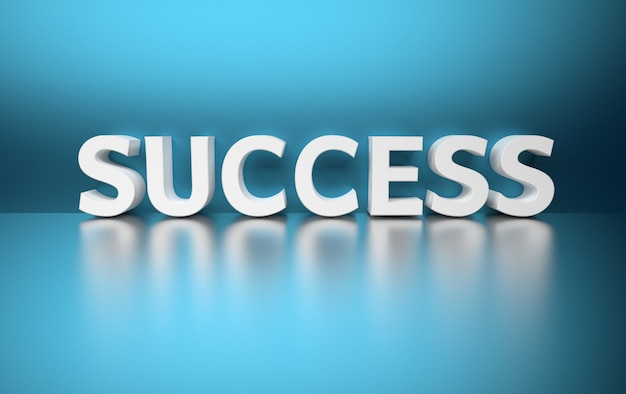 Ilustracja z pojedynczym słowem sukces z białych liter na niebiesko
