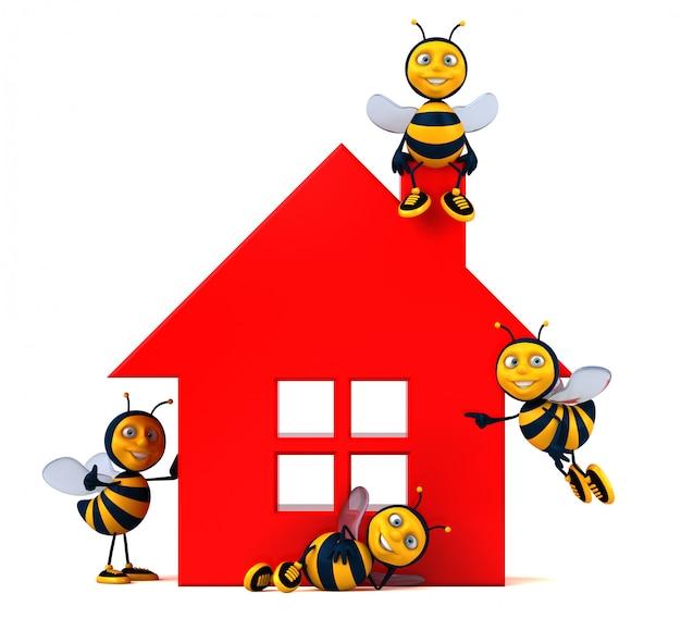 Ilustracja zabawnych animacji pszczół obok domu
