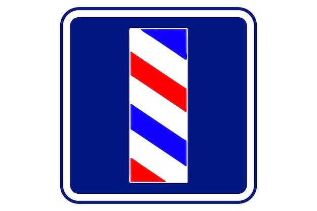 Ilustracja znaku fryzjera na niebieskim tle