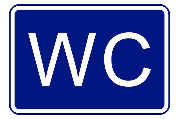 Ilustracja znaku toalety na niebieskim tle
