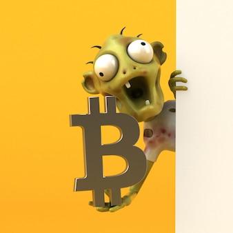 Ilustracja zombie i bitcoin
