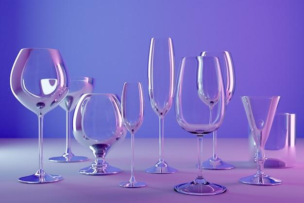 Ilustracje 3d kieliszków do szampana, whisky, koniaku. kieliszki do wina na alkohol na fioletowym tle