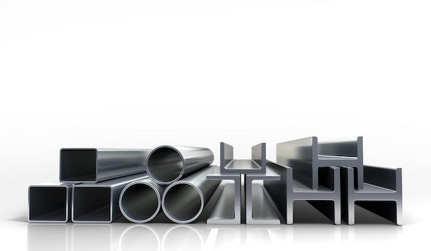 Ilustracje 3d kwadratowe metalowe rury i profile na białym tle jako tło