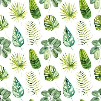 Ilustracyjny bezszwowy wzór rysujący akwarelą egzotycznych tropikalnych zielonych liści