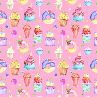 Ilustracyjny bezszwowy wzór rysujący akwareli ciasteczkiem