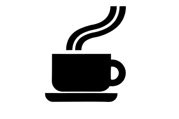 Ilustrowany wizerunek czarnej filiżanki z gorącą kawą lub herbatą na spodku na odosobnionym białym tle.