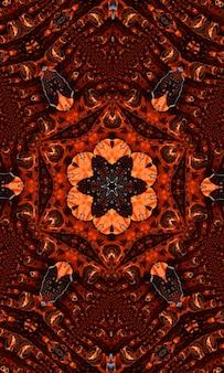 Imbir groovy kalejdoskop streszczenie wzór z okrągłymi kalejdoskopie świecące elementy. obraz pionowy.