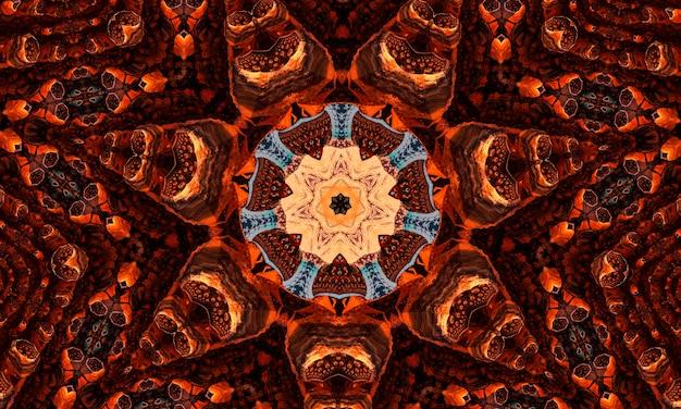 Imbir groovy kalejdoskop streszczenie wzór z okrągłymi kalejdoskopie świecące elementy.