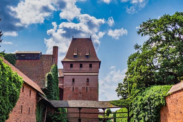 Imponujący średniowieczny gotycki zespół zamkowy - zamek w malborku, polska.