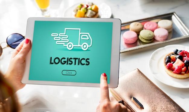 Import eksport ciężarówka koncepcji graficznej