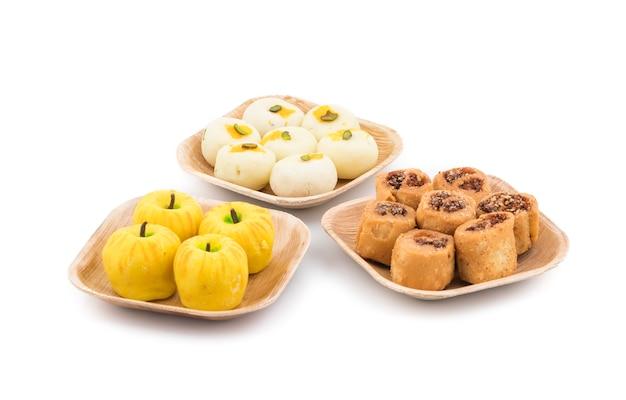Indian mix sweet peda with bhakarwadi snack