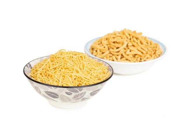 Indian namkeen food aloo with ratlami sev