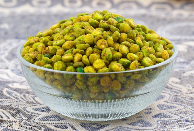 Indian namkeen snack food masala green peas