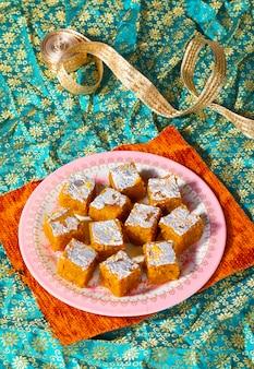 Indian sweet food mung dal chakki lub moong dal barfi