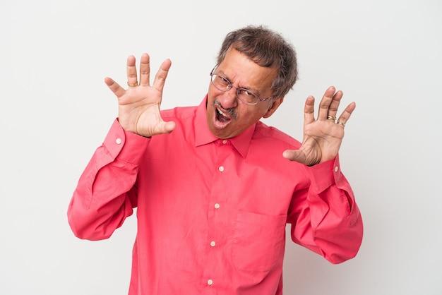 Indianin w średnim wieku na białym tle zdenerwowany krzyk z napiętymi rękami.