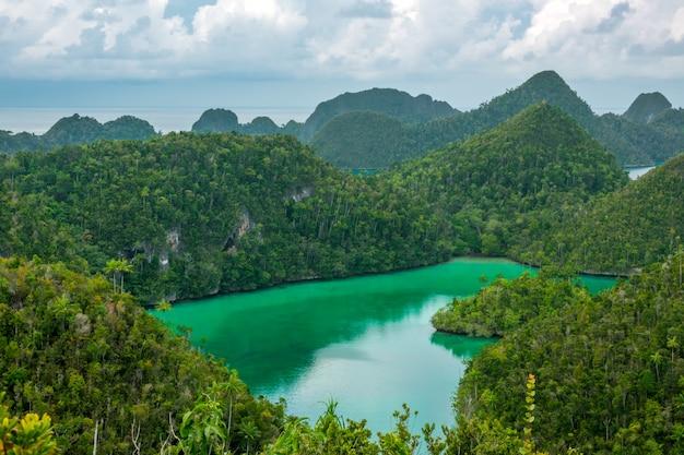 Indonezja. archipelag raja ampat przy pochmurnej pogodzie. zatoka między wyspami