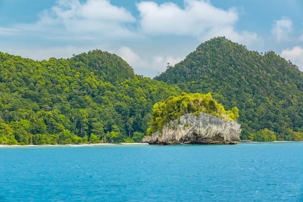 Indonezja. cieśnina między wyspami. dzień. wybrzeże z dżunglą i małą skalistą wysepką. góry i chmury na horyzoncie