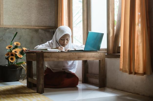 Indonezyjska uczennica odrabia zadania domowe podczas lekcji online w domu