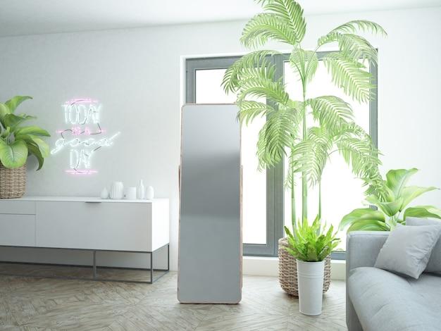 Industrialny, minimalistyczny, czarno-biały pokój z drewnianą podłogą i dużym lustrem