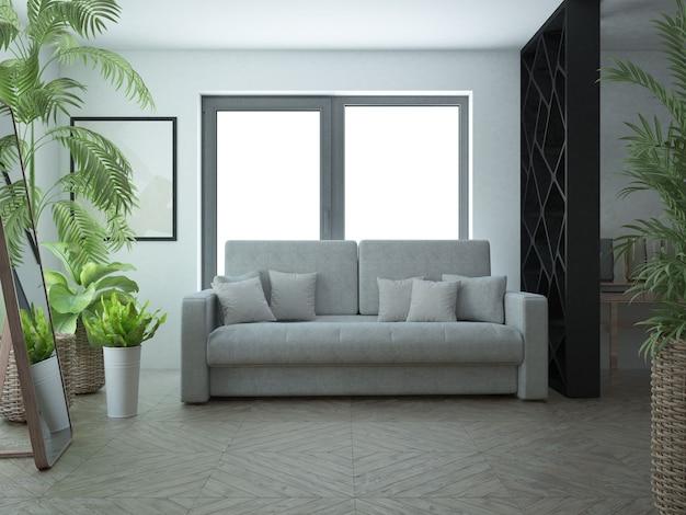 Industrialny, minimalistyczny czarno-biały pokój z drewnianą podłogą i szarą sofą