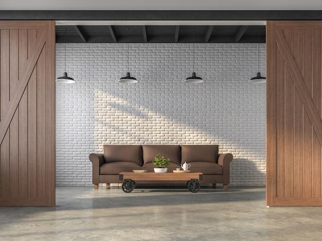 Industrialny styl salonu renderowania 3dsą białe ceglane ściany ozdobione brązową skórzaną sofą