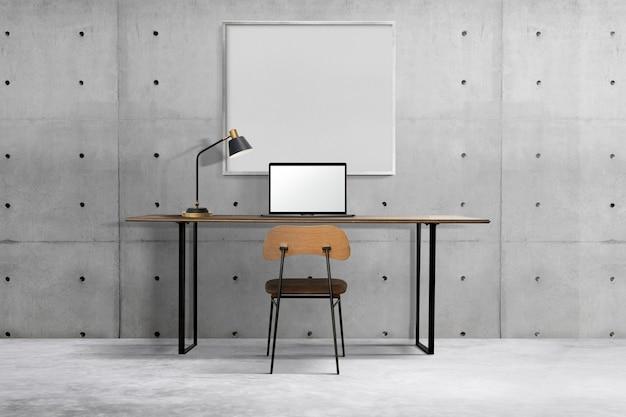 Industrialny wystrój wnętrz biurowych z białą ramą wiszącą na ścianie