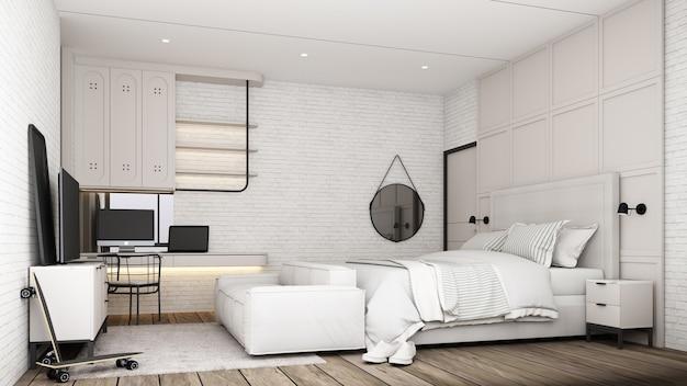 Industrialny wystrój wnętrz sypialni na poddaszu z białymi meblami rozkładana sofa stół roboczy i szafka pod telewizor z ceglaną ścianą i betonową podłogą renderowania 3d