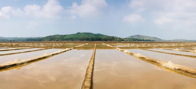 Indyjska naturalna produkcja soli w gokarna
