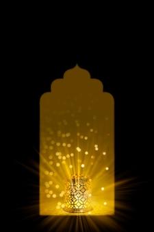 Indyjski festiwal diwali, ozdobna lampa diwali w małym oknie