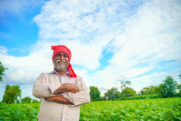 Indyjski rolnik w polu bawełny