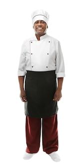 Indyjski szef kuchni w mundurze na białym tle