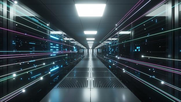 Informacje cyfrowe przepływają przez sieć i serwery danych