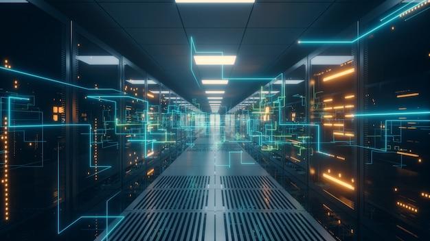Informacje cyfrowe są przesyłane kablami światłowodowymi przez sieć i serwery danych za szklanymi panelami w serwerowni centrum danych.