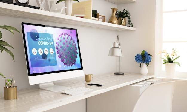 Informacje o koronawirusie strona internetowa konfiguracja biura domowego renderowanie 3d