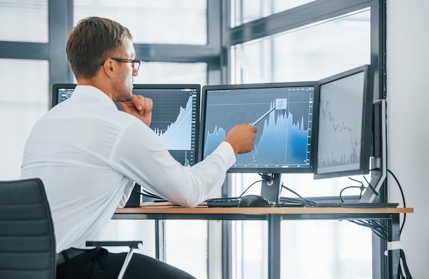 Informacje o monitorowaniu. młody biznesmen w formalnych ubraniach jest w biurze z wieloma ekranami. koncepcja wymiany i pieniądza.