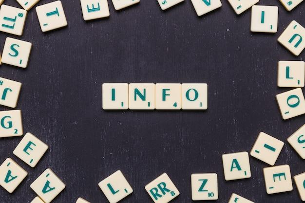Informacje scrabble litery ułożone na czarnym tle